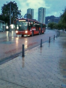 TransMilenio bus on the Eje Ambiental ('11)